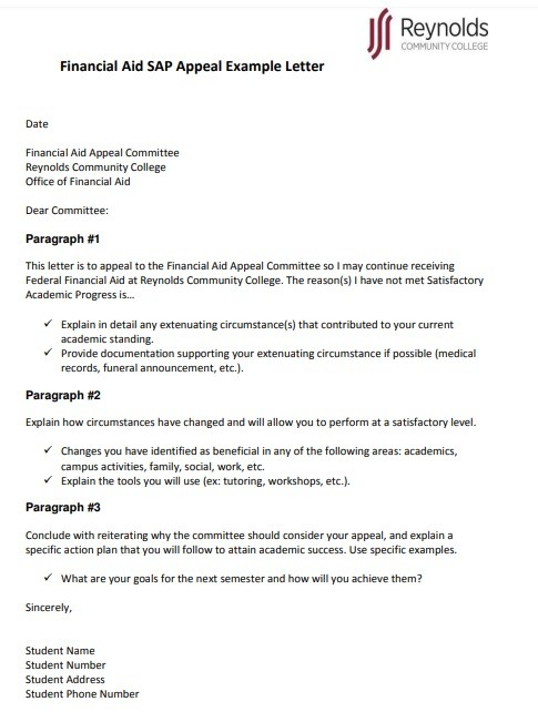 Financial-Aid-Appeal-Letter-Sample Financial Commitment Letter Template on action document, contract form, for access card, policy statement written safety plan, ceremony certificate, financial letter, statement employer, for atlas job, calendar list financial, purchase agreement, stay treatment,